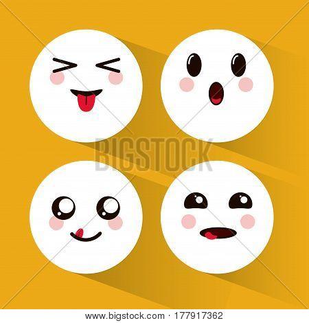 colection kawaii emoji faces vector illustration eps 10