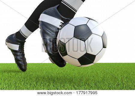 Soccer Player Kicking Soccer Ball In Motion