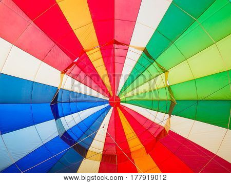 Closeup colorful of Hot air balloon with rainbow colors