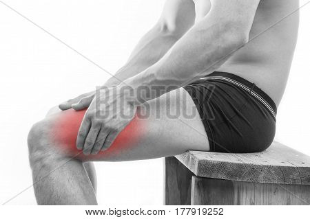 Man With Leg Pain Over White Background