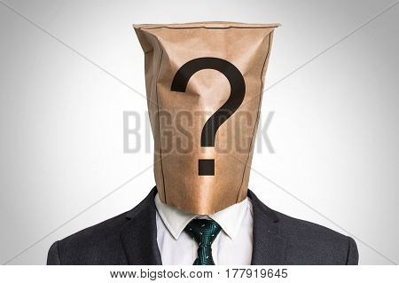 Businessman With A Bag On The Head - With Question Mark