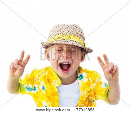 Child Straw Hat Laughs Camera Isolated White