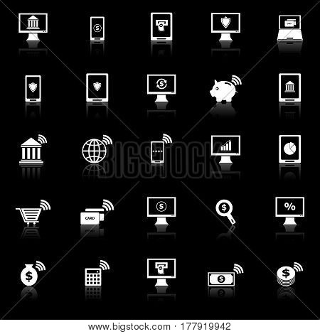 Online banking icons with reflect on black background, stock vector