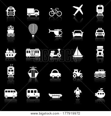 Transportation icons with reflect on black background, stock vector