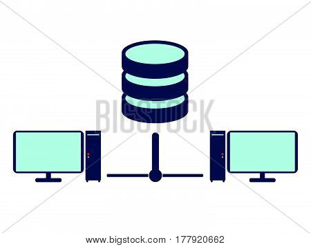 Lan Network icon and sign. Flat Vector illustration.