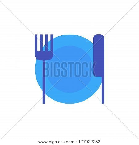 Vector icon or illustration showing restoraunt with plate, for and knife in material design style