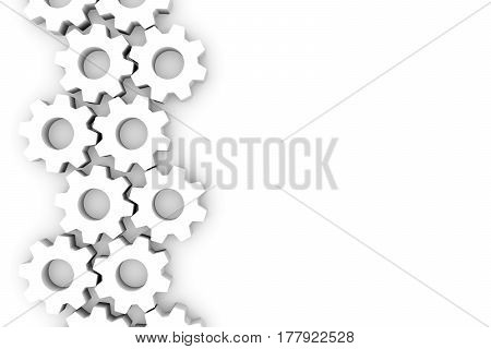 abstract background with gears white 3d illustration