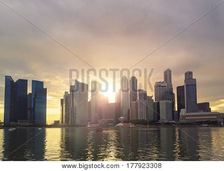 Singapore skyline, central business district financial hub famous in asia