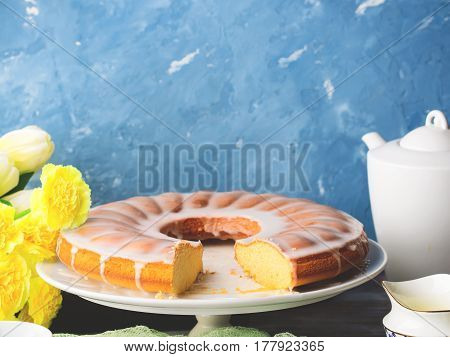 Bundt Cake With Frosting. Easter Festive Dessert