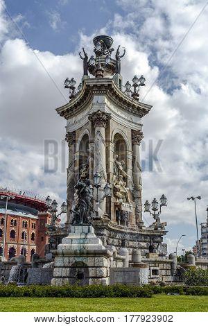Statues and Fountain at Plaza de Espana in Barcelona Spain