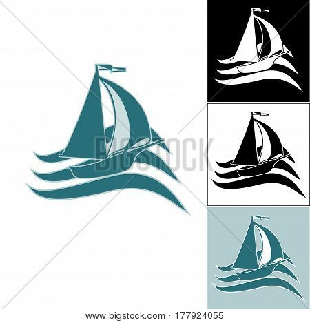 A set of ship logos. Ship logo on waves. Logo on the sea theme. Logos for travel agencies. Logo for travel and travelers. For fishing companies.