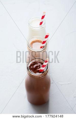 Three Different Sorts Beverage Bottle Wooden Background