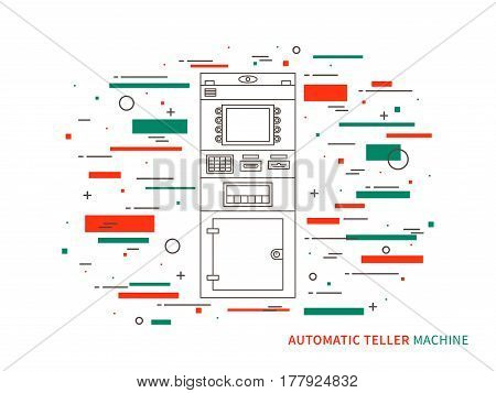 Vector automatic teller machine ATM cash dispenser automatic cash terminal concept graphic design illustration on white background.
