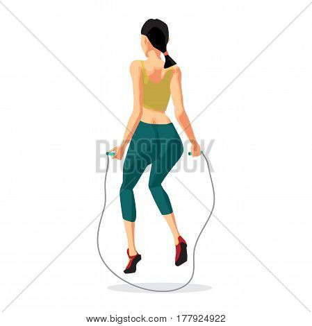 Fitness aerobic strength and body shaping exercises. Woman jumping rope. Back view. Flat cartoon isolated vector illustration