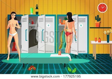 Women's locker room in the gym. Girls dressing in the cloakroom a fitness club. Vector flat cartoon illustration