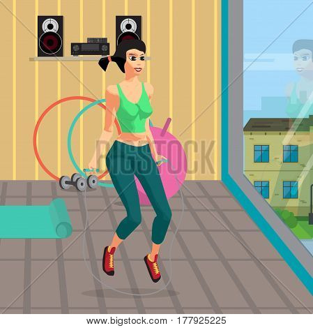 Fitness aerobic strength and body shaping exercises. Woman jumping rope in a gym. Flat cartoon vector illustration
