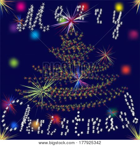 Seamless christmas background with stylized fir tree textfireworks