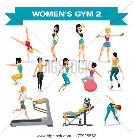 Set of women engaged in exercise in the gym. Part 2. Vector flat cartoon illustration isolated on a white background
