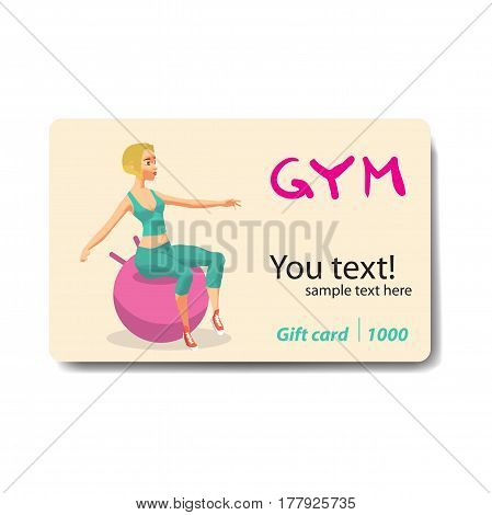 Blonde woman is engaged on a gymnastic ball in the gym. Sale discount gift card. Branding design to the gym and sports club