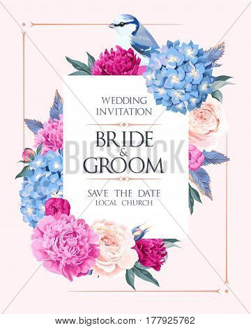 Vector wedding invitation with high detailed flowers and bird