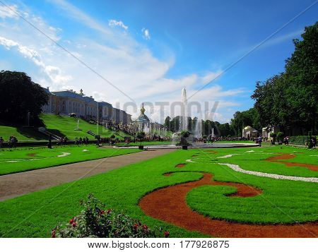 St. Petersburg Russia July 11 2016 Pedestrian Park in Peterhof in the summer season a complex of fountains editorial