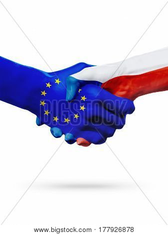 Flags European Union Czech Republic countries handshake cooperation partnership friendship or sports competition concept isolated on white
