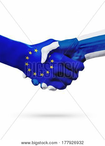 Flags European Union Finland countries handshake cooperation partnership friendship or sports competition concept isolated on white