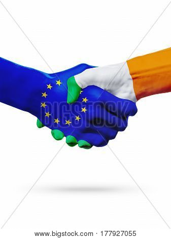 Flags European Union Ireland countries handshake cooperation partnership friendship or sports competition concept isolated on white