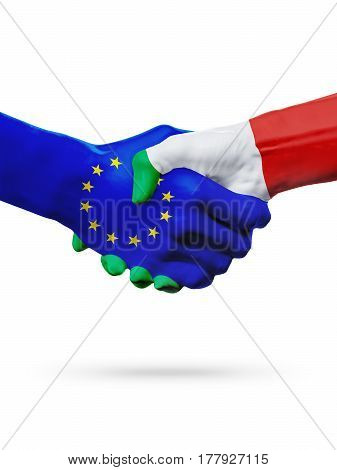 Flags European Union Italy countries handshake cooperation partnership friendship or sports competition concept isolated on white