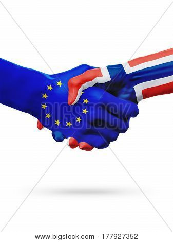 Flags European Union Norway countries handshake cooperation partnership friendship or sports competition concept isolated on white