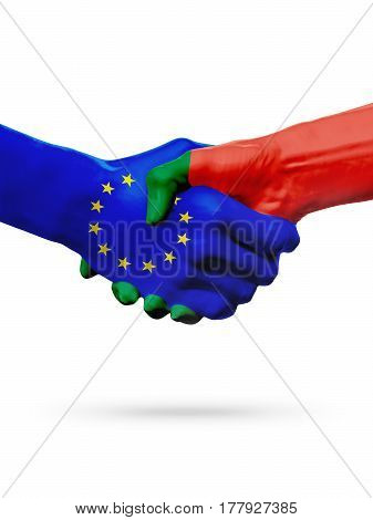 Flags European Union Portugal countries handshake cooperation partnership friendship or sports competition concept isolated on white