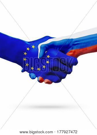 Flags European Union russia countries handshake cooperation partnership friendship or sports competition concept isolated on white