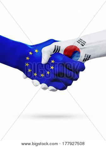 Flags European Union South Korea countries handshake cooperation partnership friendship sports competition concept isolated on white