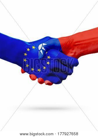 Flags European Union Taiwan countries handshake cooperation partnership friendship or sports competition concept isolated on white