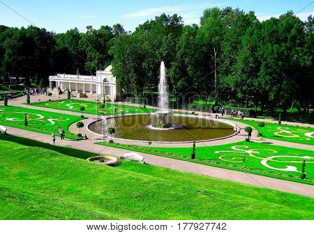 St. Petersburg Russia July 11 2016 Grand Futain in the Summer Garden at the Peterhof Museum Complex editorial