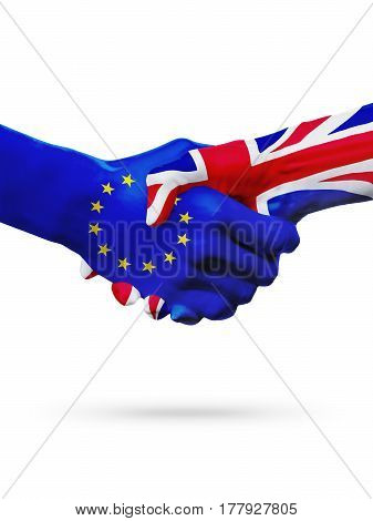 Flags European Union United Kingdom countries handshake cooperation partnership friendship or sports competition concept isolated on white
