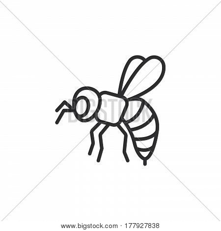Bee wasp line icon outline vector sign linear pictogram isolated on white. Symbol logo illustration