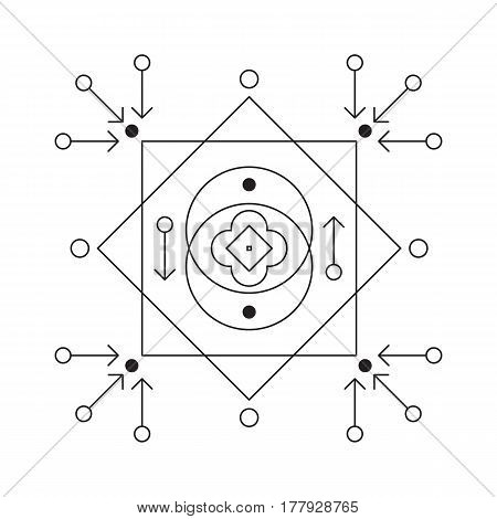 Symbol of alchemy and sacred geometry. Linear character illustration for lines tattoo on the white isolated background