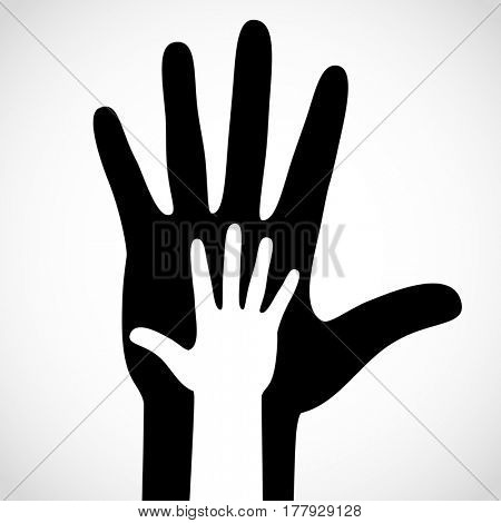 Black color big hand and white small hand vector concept. Help symbol hands support emblem. Hands icon illustration. Education, health care, medical, design element.