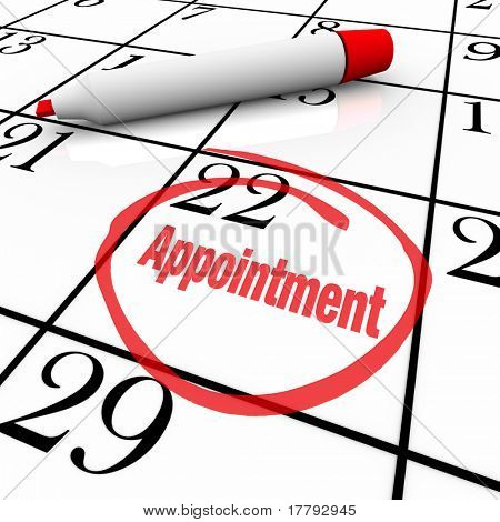 A day is circled on a white calendar with a red marker, with the word Appointment as a reminder of a special meeting