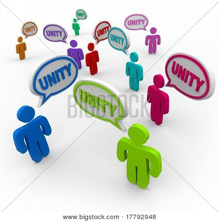 Many people talking at the same time, pledging allegiance to the group by speaking the word Unity