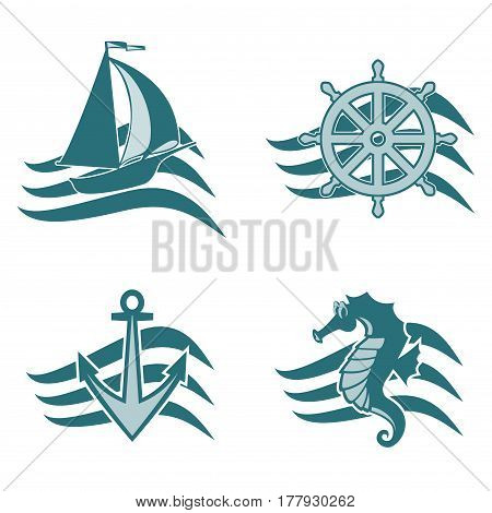 A set of logos on the theme of the sea. Anchor on the waves. The sea wheel on the wave. Seahorse on the wave. The sea ship. Logos for travel agencies. Logo for travel and recreation. For fishing companies.