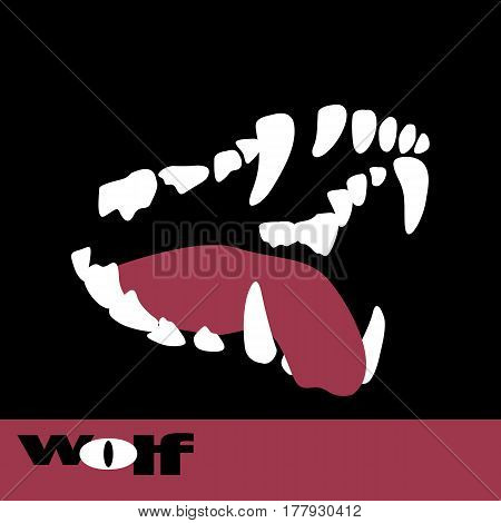 wolf fangs vector illustration style Flat teeth