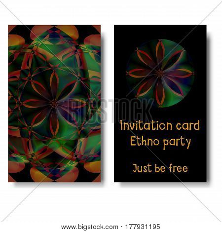 Template card with beautiful floral pattern for invitations to ethnic party, music event, yoga training and other design needs. Vector illustration of brochure, banner, placard, poster and other