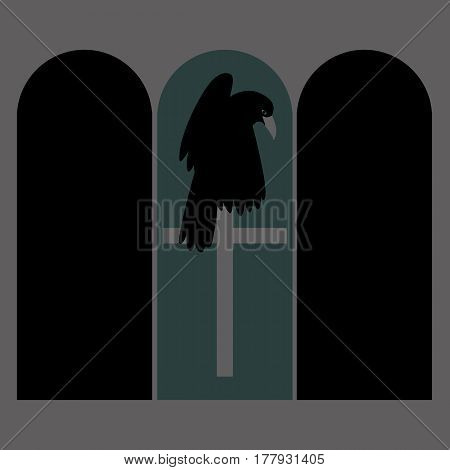 Raven on the cross vector illustration style Flat