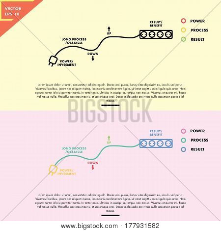 electric plugs infographic analogy, flat design with simple line art
