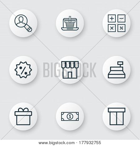 Set Of 9 Ecommerce Icons. Includes Rebate Sign, Till, Calculation Tool And Other Symbols. Beautiful Design Elements.