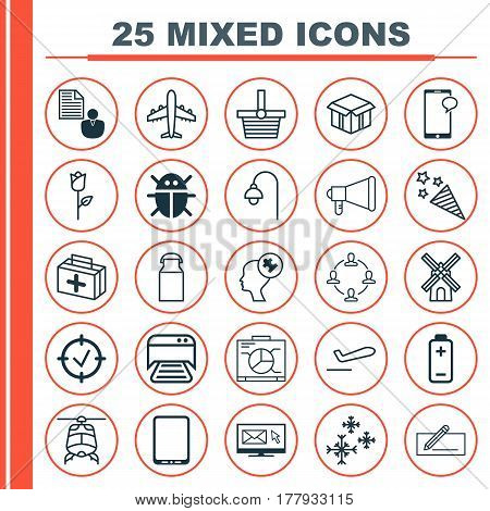 Set Of 25 Universal Editable Icons. Can Be Used For Web, Mobile And App Design. Includes Elements Such As Report, Chopper, Pannier And More.
