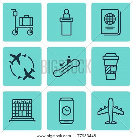 Set Of 9 Airport Icons. Includes Call Duration, Takeaway Coffee, Airfield Manufacture And Other Symbols. Beautiful Design Elements.