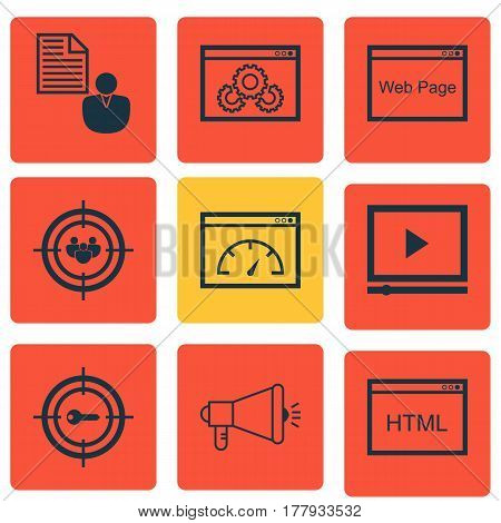 Set Of 9 Advertising Icons. Includes Loading Speed, Coding, Video Player And Other Symbols. Beautiful Design Elements.
